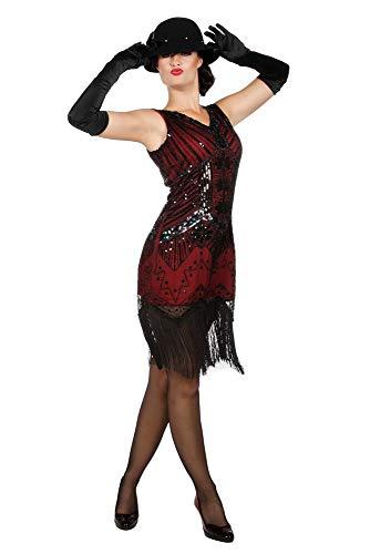 Kleid Charleston Flapper Pailletten Fransen Rot-Schwarz kurz Damen-Kostüm Fransenkleid 20's Gatsby Girl , Größe:S/M ()