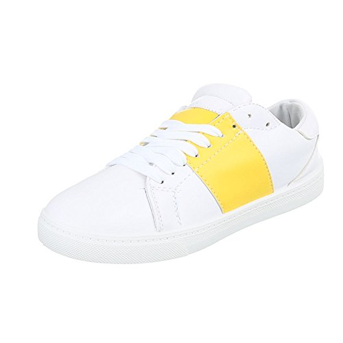 Diseño Ital - Low-top Donna White Yellow T207p
