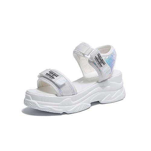 Rimocy Silver Glitter High Platform Sandals Women Thick Bottom Comfortable Hook Loop Summer Shoes Woman Casual Sandalias Mujer White 5