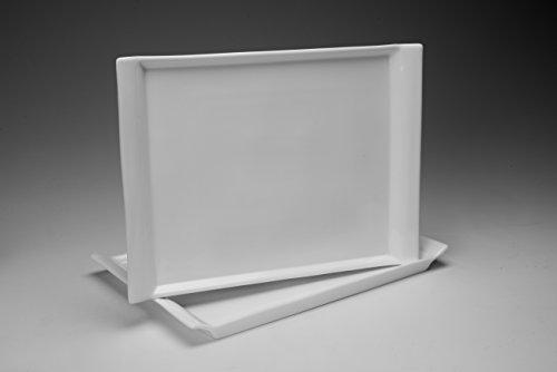 "'Plato rectangular ""Danubio 30cm Platos Llanos forjada, porcelana, blanco, 2 Stk."