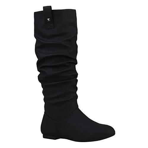 Damen Schlupfstiefel Warm Gefütterte Stiefel Nieten Winter Schuhe 152416 Schwarz Nieten 37 Flandell