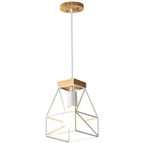 Holz-rahmen Deckenleuchte (Vintage Holz Hängeleuchte Industrial Deckenleuchte (1 X E27 Sockel) (22Cm X Ø15 Cm) Pendellampe Retro Design Metall Pendelleuchte Esszimmer Wohnzimmer LED Lampe,A)