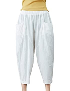Jitong Tapered 3/4 Pantalones de Lino para Mujer Color Sólido Cintura Elástica Pantalón Capri de Verano