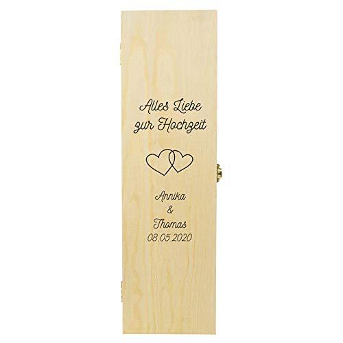 Geschenke.de Personalisierte Weinbox zur Hochzeit mit Herz-Symbolen - Hochzeitsgeschenk für Brautpaar