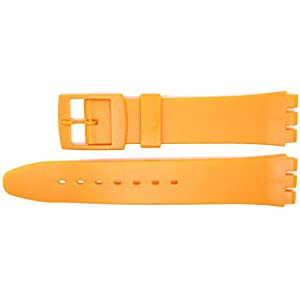 New 17mm (20mm) Sized Resin Strap Compatible for Swatch Watch – Orange – RG14O