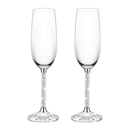 IFOLAINA Bicchieri per Champagne Set di 2 calici per Flauto Senza Piombo da 8 Once con Gambo Cristallo Lungo con Diamante Regali di Compleanno
