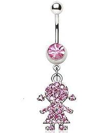 Cristal Rose Crochet queue de cochon fille nombril en forme d\u0027anneau