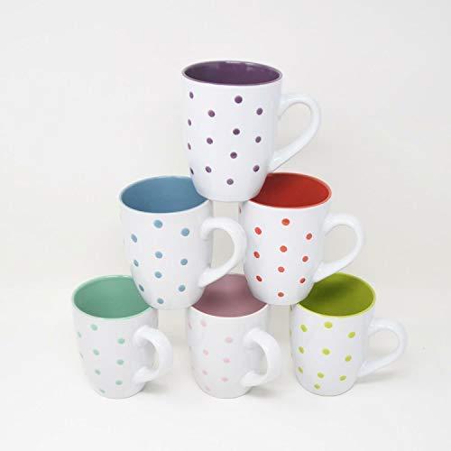 DRULINE DOTS Kombiservice White: 6er-Set Kaffeebecher (Rot, Lila, Mint, Petrol, Rosa, Apfelgrün)