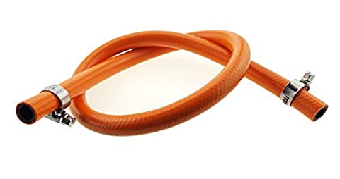 ORANGE GAS PIPE FOR PROPANE OR BUTANE,DATE STAMPED,9MM 2M LENGTH WITH CLIPS