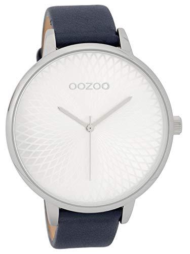 Oozoo Damenuhr mit Lederband 48 MM Silberfarben/Dunkelblau C9728