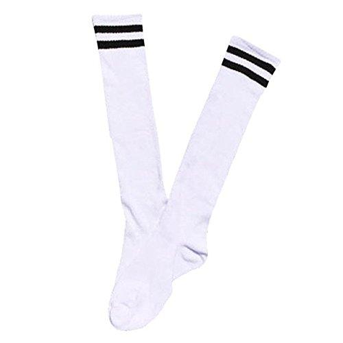 Mytobang Socken Eishockey Herren Damen Kinder 3 Streifen Fußball Sport Socken Socken Fußball Fußball Baseball Socken Knie Hoch Lange Tube Socken Cheerleadings Herren Damen Sport Streifen, 1 Paar (Weiß) (Knie-hohe Sport-socken)