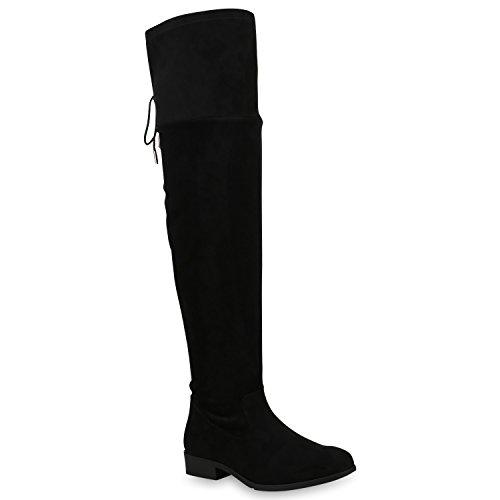 Damen Overknees Stiefel Veloursleder-Optik Schuhe Übergrößen Boots 153267 Schwarz 42 Flandell