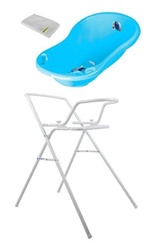 Baby Badewanne Disney Findet Dorie 84 cm mit Stöpsel + Badewannenständer + Waschhandschuh (Disney Baby-badewanne)