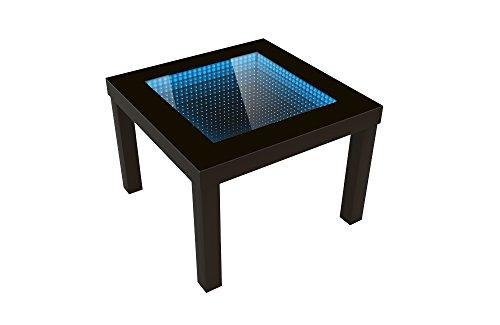 FORAM Modern Couchtisch Glastisch Beistelltisch Tiefeneffekt Tisch LED 3D (55x55, wenge)