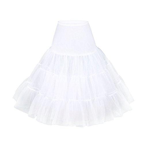 LUOUSE Vintage Damen 50s Rockabilly Tutu Skirt Petticoat (Mehreren Farben),White,L