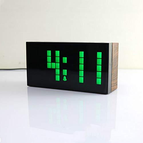 Sveglia multifunzione in plastica grano legno orologio led orologio digitale muto luminoso grande schermo rettangolare sveglia 1-45 venatura del legno/luce verde 25,8x10x5,6 cm