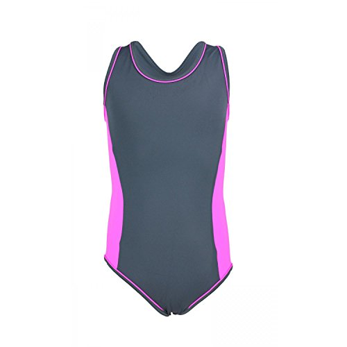Aquarti Mädchen Badeanzug Racerback Kinder Schwimmanzug , Farbe: Grau / Pink, Größe: 128