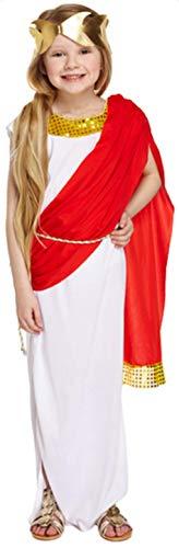 Kind Kostüm Römische Prinzessin - Fancy Me Mädchen Römische Göttin Prinzessin Toga Modisches Kostüm Outfit 4-12 Jahre - Weiß, 10-12 Years