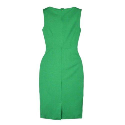 Damen aermellos Spleiss-Farbe Etuikleid Grün