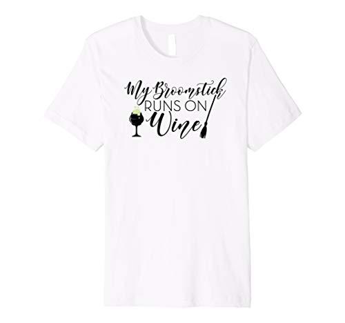 My Broomstick Runs on Wine T Shirt Funny Halloween TShirts