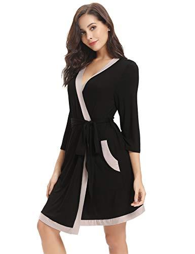 ab4dc1c769 Aibrou Bata Kimono Mujer Algodón Cinturón Pijama