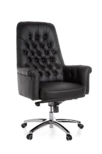 Amstyle HIGHLAND Luxus Chefsessel Echtleder Schwarz, 5-Punkt Multiblockwippmechanik, max 150kg