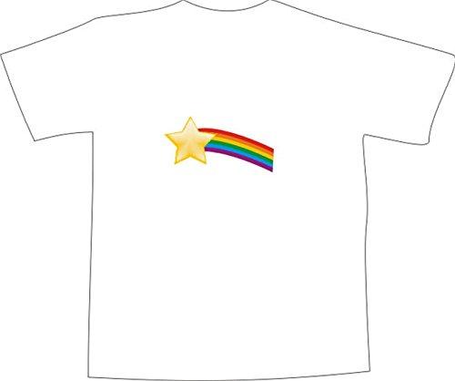 T-Shirt E197 Schönes T-Shirt mit farbigem Brustaufdruck - Logo / Grafik - minimalistisches Motiv - Sterne und Regenbogen Mehrfarbig