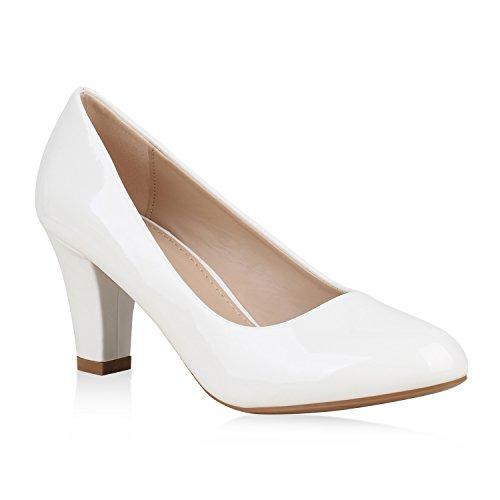 Klassische Damen Pumps Lack Business Schuhe Mid Heels Absatzschuhe 157376 Weiss 38 Flandell