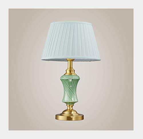 Lampe de table F Lampe de table Lampe de chevet en céramique décorative créative de chambre à coucher en cuivre
