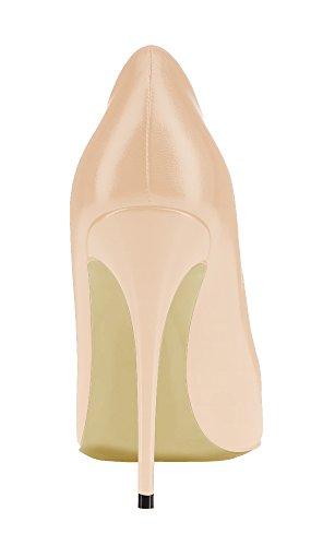 Guoar High Heels Große Größe Damenchuhe Spitze Zehen Mehrfarbig Stiletto Pumps Büro-Dame Party Hochzeit B-Natural PU