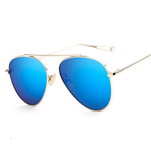 Persönlichkeit Männer Frauen Trend Metall Farbfilm Sonnenbrillen Mode Sonnenbrillen Brille (Color : Blau, Size : Kostenlos)