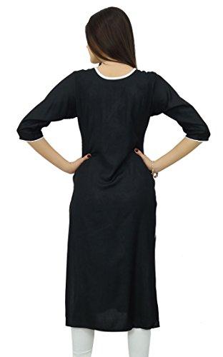 Bimba femmes cou brodé dames droites Kurti noir kurta vêtements casual indien Noir