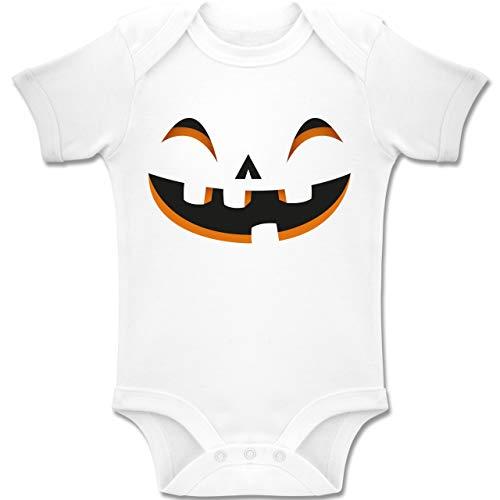 Shirtracer Karneval und Fasching Baby - Kürbisgesicht Kostüm - 18-24 Monate - Weiß - BZ10 - Baby Body Kurzarm Jungen Mädchen (Besten Halloween-kostüme 2019 Die Baby)