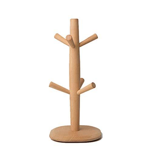 Arbre en bois plein de support de tasse, support de tasse en hêtre naturel naturel, séchoir de tasse de organisateur de cintre de tasse à café de stockage avec 6 crochets