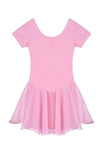 Qenci Kinder Mädchen Klassisches Ballerina Kleid Kinderkostüm Tutu Ballettkleid Trikot Kleid Kurzarm Rosa Schwarz Weiß Lila Blau Gr. 110-160 (Ballerina Kleid Kinder)