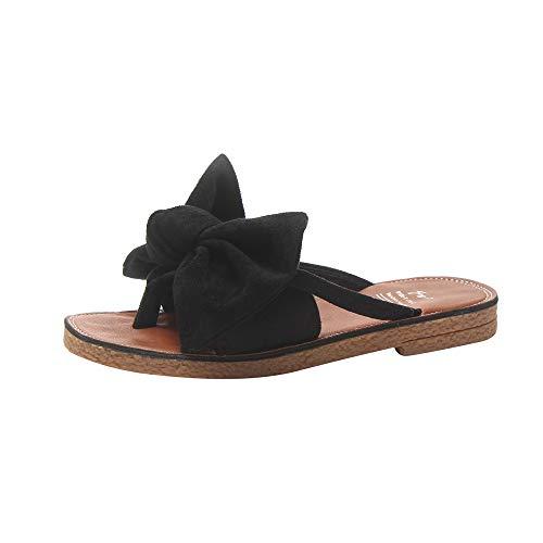 KonJin Womens Flip Flops New Ladies Fashion Solid Color Bow Tie Flat Heel Sandals Slipper Beach Shoes Black Satin Bow Sandals
