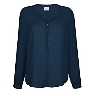 Alba Moda Damen Bluse mit tieferem Rundhalsauschnitt