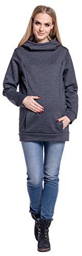 Happy Mama. Femme sweat à capuche maternité d'allaitement poche kangourou. 093p Graphite