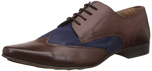 Knotty Derby Men's Elphias Wing Cap Derby Brown and Blue Formal Shoes