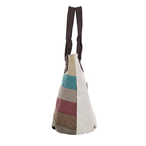 PB-SOAR Damen Vintage Canvas Shopper Schultertasche Handtasche Beuteltasche mit Streifenmuster (Farbe 1) Farbe 1