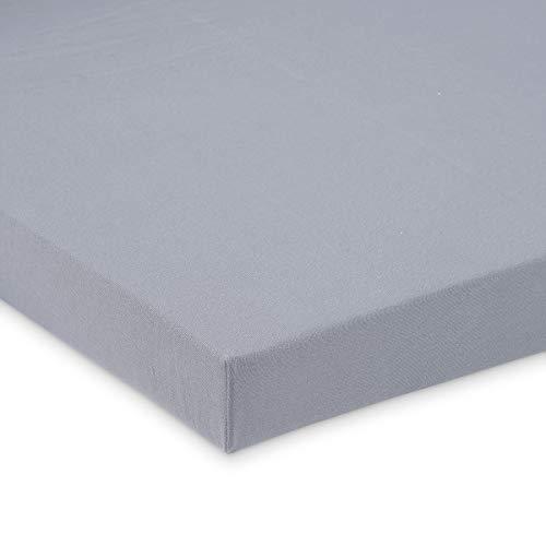 FabiMax BIO-Baumwolle Jersey Spannbettlaken für Beistellbett und Wiege, 90 x 55 cm, grau