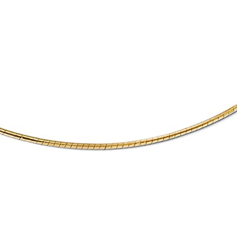 Black Bow Jewellery Company : 2 mm Round Omega Chain Necklace in 14K Yellow Gold, 18 Inch