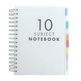Quaderno con divisori per 10 argomenti, formato A5, traslucido, 200 fogli (400 pagine) di carta bianca a righe di…