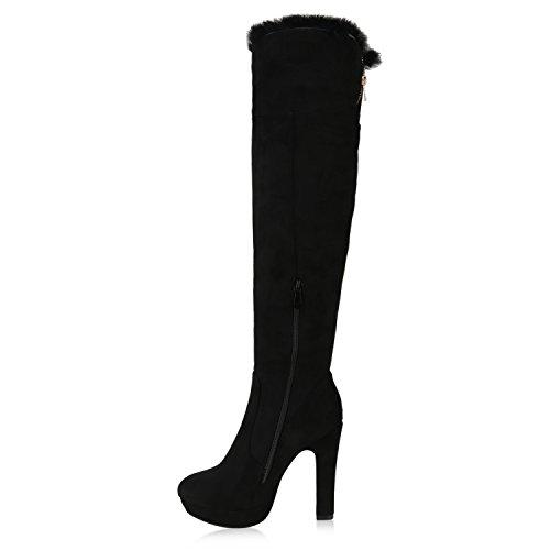 Bootsparadise Stivali Da Donna Overknees Scamosciata Look Block Tacco Scarpe Stivali Lunghi Stivali Stivali Flandell Nero Agueda Autol