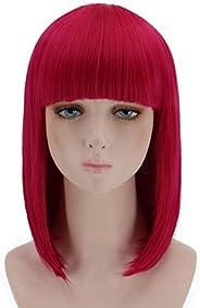 Short Bob Hair Wigs with Bangs Straight Synthetic Wig Natural As Real Hair 12&#