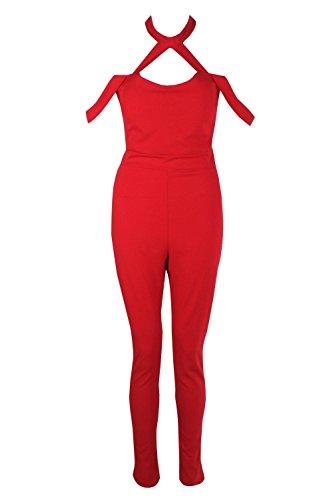 rouge Femmes Rose Combinaison Skinny Ras Du Cou Rouge