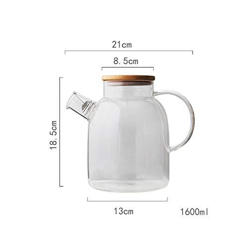 Broborsilikatglaskrug - eiskalte Saftflasche - hitzebeständiger Glaskrug, Wasserkocher, Saft, Milch, kaltes Wasser, heißer Kaffee,1600ml (Glas Milch Flaschenverschlüsse)