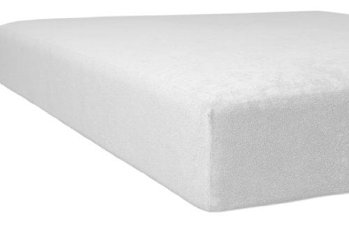 Kneer 1001001 Flausch-Frottee Spannbetttuch Qualität 10, Größe 90/190-100/200 cm, weiß