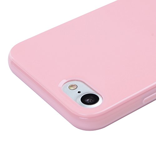 Badalink TPU Case Silikon Hülle für iphone 7 FederLeicht Hülle Gummi Bumper Cover Schutz Schale Siliconcase Silikon Tasche Schutzhülle für iphone 7 mit Schwarz Design Rosa