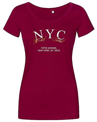 Oberteile Damen mit NYC Aufdruck | Sommer Tshirt schulterfrei - Oversize Tshirts - T-Shirt mit V Ausschnitt - Tank Top mit Uboot Ausschnitt Wide Neck Berry S